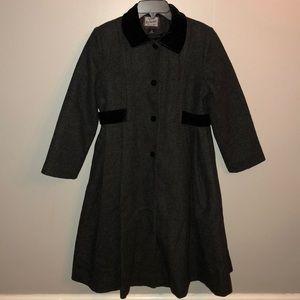 Rothschild Girls' Wool Coat with Velvet Details